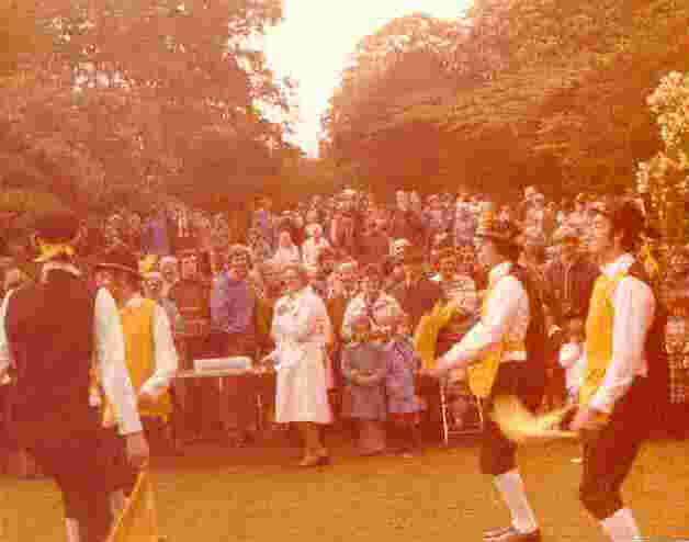 All Hallows Queen's Silver Jubilee Garden Fete, 1977. Held in the grounds of the old rectory (now privately owned). Left to right: Dan Turner, Brian Shutt, Derrek Leigh, John Gunby. N.B: Our costume was still unfinished - no logos on the tabbards and no bell pads.