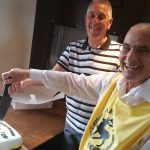 2 of Harthill Morris' founding members, Brian & David L., cut the cake